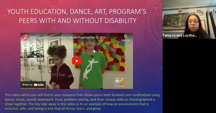 screenshot of video and person speaking in a zoom meeting room. Text reads: YOUTH EDUCATION, DANCE, ART, PROGRAM'S PEERS WITH AND WITHOUT DISABILITY